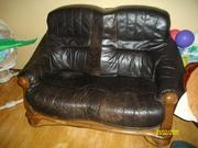 2 дивана и кресло кож.