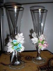 В подарок украшения!!! Свадебные фужеры для жениха и невесты (богемско
