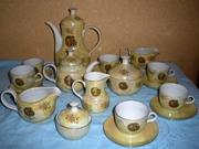 Подлинный чайно-кофейный фарфоровый сервиз «Мадонна» с позолотой перла