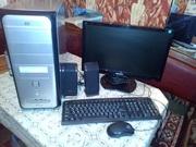 Двух ядерный компьютер с монитором ЖК 19`, клавиатура, мышь, колонки