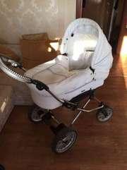 Детская коляска Emaljunga - люлька+ прогулочная,  белая кожа