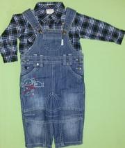 Костюм на мальчика полукомбинезон+рубашка Gloria jeans байковая -9-12м