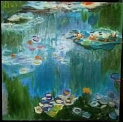 Картина «Водяные лилии» Клод Моне холст,  масло,  копия Размер 40х40 см
